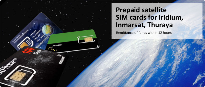 Prepaid satellite SIM cards for Iridium, Inmarsat, Thuraya